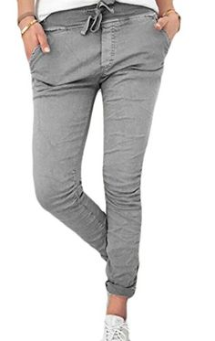 e4b7bb496ef6e1 WSPLYSPJY-women clothes WSPLYSPJY Women Stylish Pencil Stretch Casual Pure Color  Slim Fit Pants Grey XL