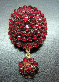 INCREDIBLE Victorian ROSE CUT Red Garnet FIVE-TIERED Drop PENDANT PIN c.1880s $115
