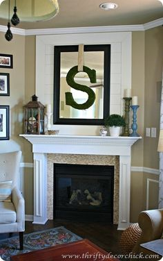 Mantle Decor: Instead of grass around the letter, I would prefer burlap with a pretty flower on the edge.