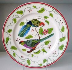 LYNN CHASE DESIGNS, Parrots of  Paradise  - Dinnerware by acclaimed wildlife artist and conservationist, Lynn Chase.  I have these dishes and matching placemats/napkins. Love it all!