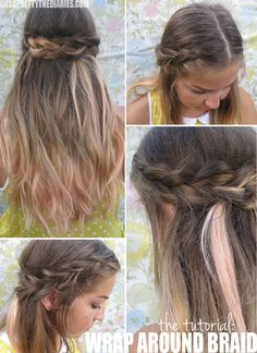 Wrap-around braid hair tutorial by Oh So Pretty (inspired by Selena Gomez).