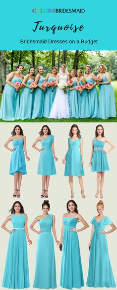 These turquoise long bridesmaid dresses can be custom made to all sizes including plu size. They are mostly sold under 100.  What affordable bridesmaid dresses are they!