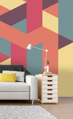 Hang this symmetrical geometrical wallpaper mural in your living room to create an amazing feature wall! Featuring beautiful pastel colours, this vibrant wallpaper is sure to bring life to your space. Prices shown are per square foot. Visit Wallsauce.com for more geometric patterned wallpaper murals