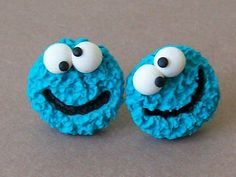 Cookie monster stud earrings polymer clay fimo