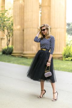 :love casualness of the stripes with the dressiness of the skirt...great partnership: