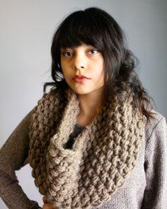 Knit Cowl Scarf in Latte, via Etsy. I'd like something like tis for Christmas