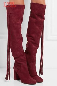 (106.40$)  Buy here  - Long Fringe Side Women Knee High Boots Round Toe Cowboy Style Ladies Chunky Heel Boots Zipper Boots Female Fashion Dress Boots