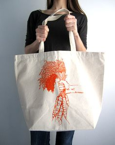 Screen Printed Oversized Recycled Cotton Tote Bag - Eco Friendly Shopper Grocery Tote - Reusable and Washable - Great for Everyday Use. $17.50, via Etsy.