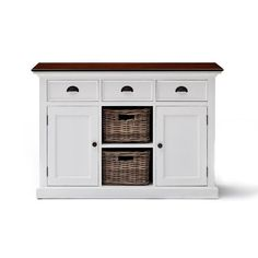 This variation on our classic Rustic White Sideboard With Baskets offers clever storage versatility with its combination of generous drawers Furniture Dolly, White Furniture, Kitchen Furniture, Rustic Furniture, White Sideboard, Sideboard Buffet, Upholstered Dining Chairs, Dining Chair Set, Kitchen Buffet