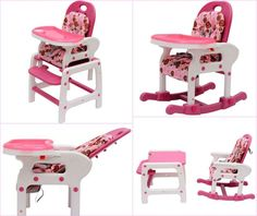 Baby Highchair Recliner Rocking Chair Table Feeding Seat Pink 3 in 1 Backrest  sc 1 st  Pinterest & Baby Highchair Recliner Rocking Chair Table Feeding Seat Pink 3 in ... islam-shia.org