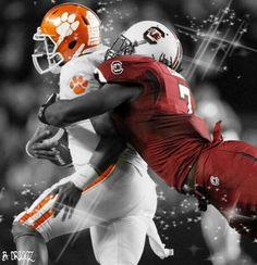Jadaveon Clowney sacking a Clemson quarterback