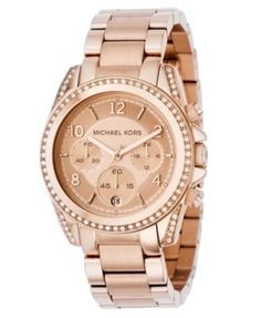 8f19e6bb0a45 Michael Kors Women s Chronograph Blair Rose Gold-Tone Stainless Steel  Bracelet Watch 41mm MK5263