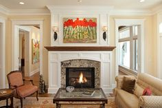 Large format painting accentuates the fireplace and adds color to the room  |  Andrea's Innovative Interiors - Andrea's Blog - MantleStyling