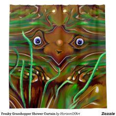 Freaky Grasshopper Shower Curtain  http://www.zazzle.com/freaky_grasshopper_shower_curtain-256637652880251754?rf=238588924226571373