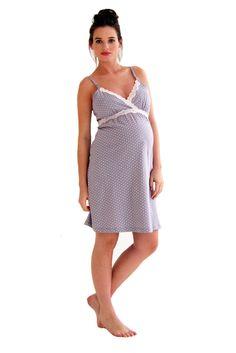Belabumbum Dottie Lace Trim Maternity Nursing Chemise Nightgown