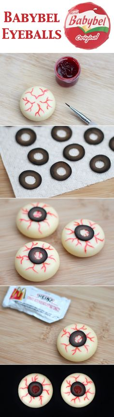 Easy Halloween Eyeball Recipe ~ These easy cheesy eyeballs have a simple list of ingredients: Mini Babybel cheese, black olives, ketchup, and red gel food coloring