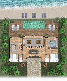 Sims House Plans, Beach House Plans, House Layout Plans, Modern House Plans, Small House Plans, House Layouts, Modern House Design, House Floor Plans, Small Villa