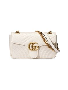 Gucci Gg Marmont Small MatelassÉ Shoulder Bag In 9022 White Gucci Gg Bag, Gucci Handbags, Gucci Gucci, Luxury Handbags, Luxury Purses, Luxury Bags, Gucci Marmont Bag, Gg Marmont, Chain Shoulder Bag