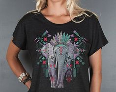 Women's Geometric Elephant Top- Aztec Elephant Women's Tshirt- Loose Fitting Open Neck T Shirt- Animal Graphic Tee- Women's Tops
