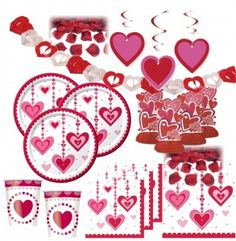 XXL hängende Herzchen Deko Set 8 Personen Herzen Valentinstag Valentinstag Party, Party World, Cards, Valentines Date Ideas, Save My Money, Deko, Map, Playing Cards, Maps