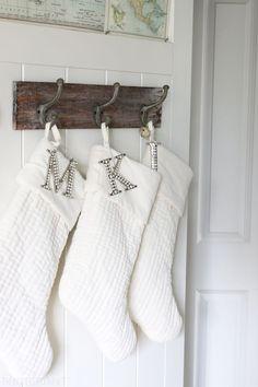 White Velvet Stockings - The Inspired Room Christmas House Tour