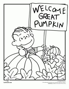 great pumpkin coloring page 231x300 Its the Great Pumpkin Charlie Brown Coloring Pages