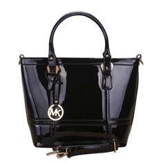 Michael Kors Smooth Logo Large Black Satchels #MK #Trends