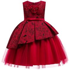 Kid Formal Flower Girl Dresses Striped Bowknot Design Ball Gown For Wedding and Party Children's Costume Teenager Prom
