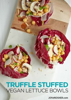 Truffle Stuffed Vegan Lettuce Bowls Recipe. A healthy new way to enjoy a vegan salad.