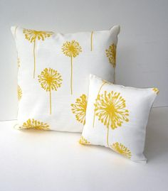 Pretty dandelion pillows. For the reading room.