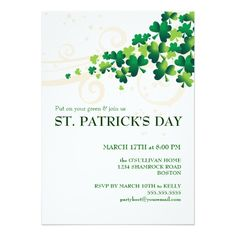 St. Patricks Day Irish Shamrock Party Invitation | 15% Off All Orders | Up to 50% Off St. Paddy's Gifts - use code: ZAZZPOTOGOLD