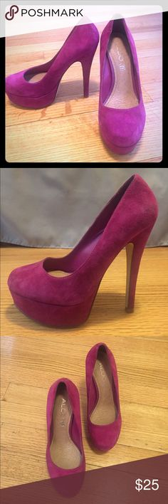 """Aldo roundtoe purple suede heels Absolutely beautiful shoes! Worn once to a wedding and got many compliments! These suede purple heels are 4"""" in height and are a good accent piece to any outfit. Padded for comfort. Aldo Shoes Heels"""