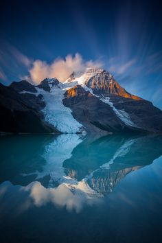 Beautiful Berg - A beautiful sunrise at the shores of Berg Lake watching the mighty Mount Robson catch the first glimpse of sunlight igniting its summit.