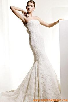 Robe de mariée sirène en dentelle fleur