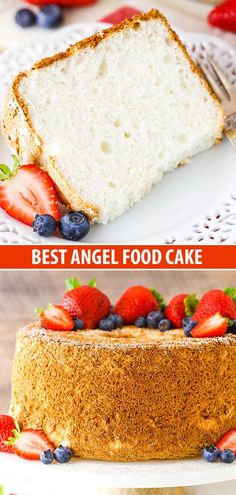 You can make the Best Angel Food Cake ever with just six ingredients! This cake is light, airy and SO much better than any store-bought version! Angel Cake, Angel Food Cake, Mini Cakes, Cupcake Cakes, Cupcakes, Sweets Cake, Easy Cake Recipes, Dessert Recipes, Cake Ingredients