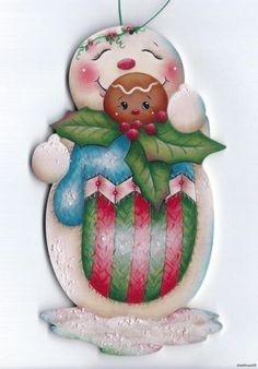 SNOWMAN Gingerbread Mitten - Based on a Jamie Mills-Price design... handpainted by Pamela House