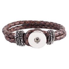 "SIze of bracelet: 7.5"" Material: Zinc Alloy and faux leather"