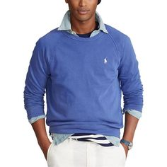 Polo Ralph Lauren | Terry Crew Sweater | House of Fraser Polo Ralph Lauren, Spring Outfits, Cotton Fabric, Sweaters, Sweatshirts, Long Sleeve, Fitness, Casual, Model
