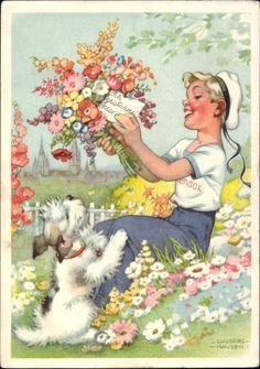 Artist Postcard Lungershausen, Ilse Wende, Blendax, Glückwunsch, Terrier