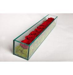 Preserved Roses in Rectangular Vase
