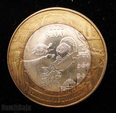100 pesos bimetalica centro de plata segunda face estado de Coahuila México 2006 Cancun, Wwii, Graphics, History, World, Coins, Copper, Money, Coin Collecting