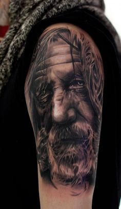 Portrait Tattoo - It's a good idea to have the portrait of your most admired or loved one tattooed on your body. Portrait tattoos are mostly rendered in a realistic or artist way. Celebrities are one of popular candidates for portrait tattoos.