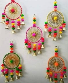 Diwali Craft, Diwali Diy, Handmade Decorative Items, Handmade Home, Diy Crafts Hacks, Diy Arts And Crafts, Diwali Decoration Items, Diwali Candles, Door Hanging Decorations