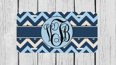 Personalized Monogrammed Chevron Blue License by TopCraftCase