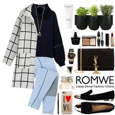 Romwe by oshint on Polyvore featuring moda, Dsquared2, Yves Saint Laurent, Versace, House of Harlow 1960, Charlotte Russe, Marc by Marc Jacobs, Casetify, Chanel and Max Factor