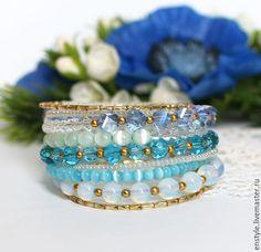 """Купить Многорядный браслет """"Синий иней"""" - бирюзовый, многорядный браслет, многослойный браслет, многоярусный браслет"""