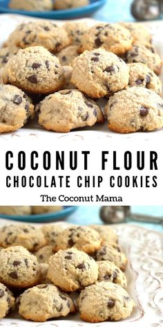 These coconut flour chocolate chip cookies are so tasty and are completely grain free! These coconut flour chocolate chip cookies are so tasty and are completely grain free! Coconut Flour Cookies, Coconut Flour Recipes, No Flour Cookies, Keto Cookies, Healthy Cookies, Coconut Flour Biscotti Recipe, Coconut Flour Baking, Cookies For Diabetics, Coconut Flour Biscuits
