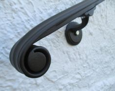 Items similar to FT Wrought Iron Hand Rail Wall Rail Stair Step Railing Wall Mount Classical Volute Design on Etsy Wrought Iron Paint, Iron Handrails, Wrought Iron Stair Railing, Wall Railing, Porch Handrails, Exterior Handrail, Iron Railings, Railing Ideas, Railing Design