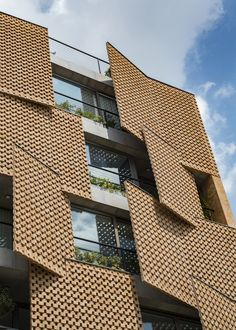 Image 6 of 19 from gallery of Saadat Abad Residential Building / Mohsen Kazemianfard - fundamental approach architects. Photograph by Parham Taghioff Architecture Paramétrique, Contemporary Architecture, Brick Facade, Facade House, Building Facade, Building Design, Teheran, Facade Design, Brick Design