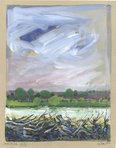 """Arkansas River Kansas #46 - Mixed Media - 8.5""""x11"""" - 3/18/01 - Prints Available - Original Available - Contact Ethan Froese for purchase information - ethan@jjfroese.com"""